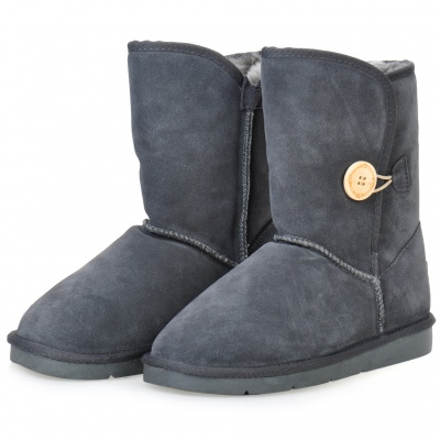 INCOME Women's Casual Cow Leather Winter Warm Snow Boots - Dark Grey (EUR Size-39)