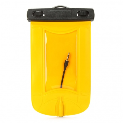 Universal Waterproof Bag Case w/ 3.5mm Earphone & Strap for Cell Phone - Yellow