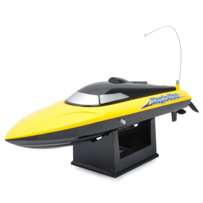 Rechargeable 2-Ch R/C Boat Model with Remote Controller - Yellow