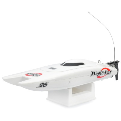 Rechargeable 2-Ch R/C Boat Model with Remote Controller - White