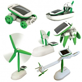 6-in-1 Solar Powered Assembly Toy Kit - White + Green