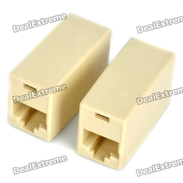 RJ45 8-Pin Female to Female Cable Extender Coupler (Pair)