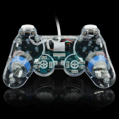 USB Wired Mono Shock Gaming Controller Joypad w/ Blue Light Effect for PC - Blue