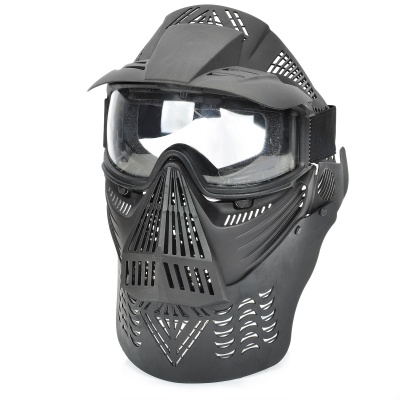 Stylish Paintball War Game Protection Face Mask Shield - Black