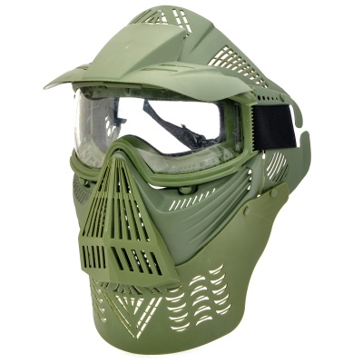 Protective Outdoor War Game Eyeglass Cover Military Tactical Full Face Shield Mask - Army Green