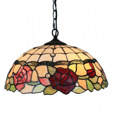 "Tiffany Pendant Light with 2 Light in Rose Patterned Shade 16"" (220-240V)"