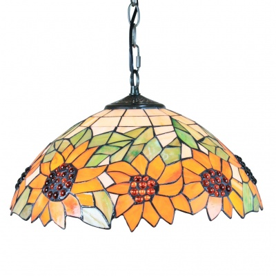 "Tiffany Pendant Light with 2 Light in Sunflower Patterned Shade 16"" (110-120V)"