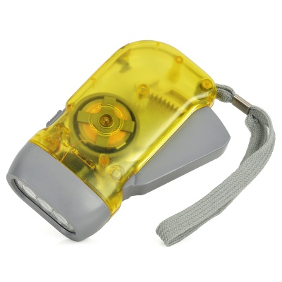 Hand Cranked 30lm 3-LED White Light Dynamo Flashlight with Strap - Yellow + Grey
