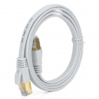 Gold-plated Cat.7 RJ45 10Gbps High Speed Ultra Flat LAN Network Cable - White (1m)