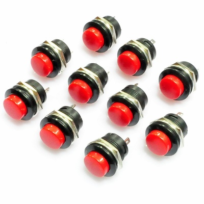 Plastic + Iron Push Button Power Switches - Red + Black (10 PCS)