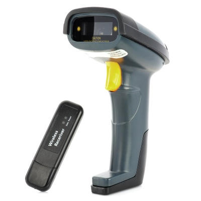Rechargeable Wireless Handheld USB Visible Laser Barcode Scanner - Black