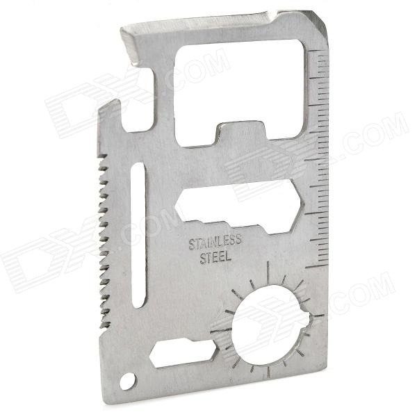 Multi-function 11-in-1 Stainless Steel Card Style Knife Tool - Silver