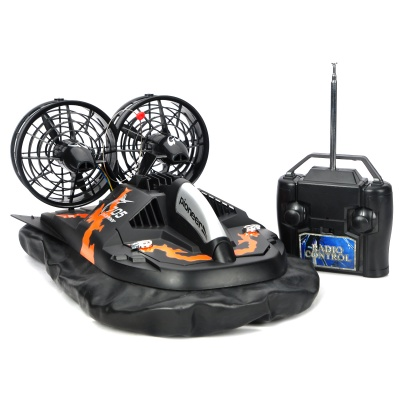 6651 Water / Land 2-Channel Radio Remote Control Hovercraft - Black + Orange