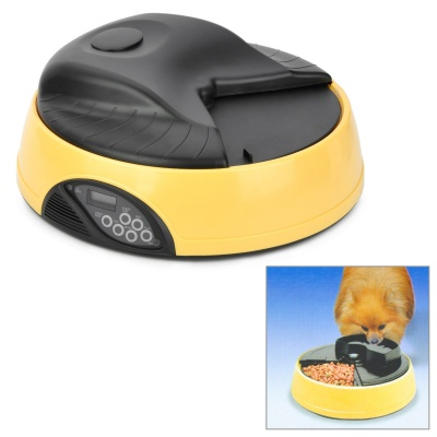 "1.2"" LCD Automatic Pet Feeder w/ Water Container - Yellow (Size-L / 4 x D Size)"