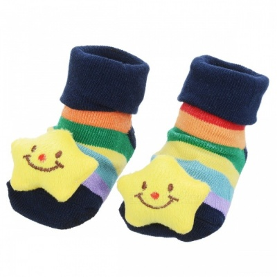 Cute Little Star Pattern Baby Non-Slip Socks - Yellow + Blue (1 Pair)