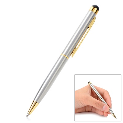 2-in-1 Capacitive Touch Screen Stylus + Black Ink Ball Point Pen - Silver + Golden