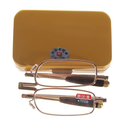 Alloy Frame Foldable Reading Glasses with Protective Case (+2.00D)