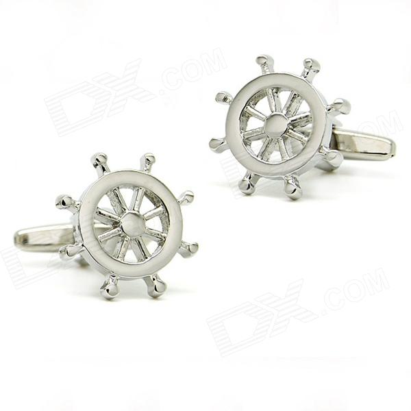 Fashion Rudder Shape White Steel Cufflinks for Men - Silver (Pair)