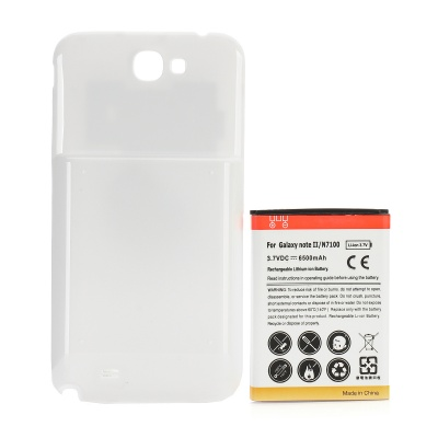 "Rechargeable ""6500mAh"" Extended Li-ion Battery w/ Back Case for Samsung N7100 Galaxy Note 2 - White"