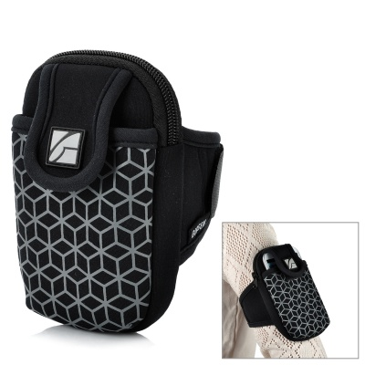 Double Pocket Mobile Phone Pouch Arm Bag with Velcro Strap - Black
