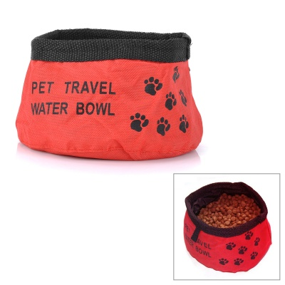 Stylish Portable Oxford Cloth Pet Dog Travel Food Feeder Water Bowl - Red