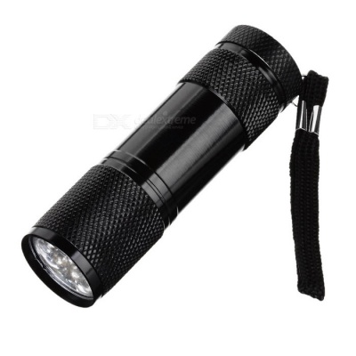 385~395nm 9-LED Purple Light UV Flashlight - Black (3*AAA)