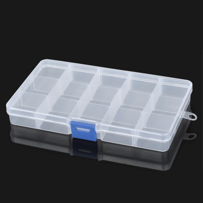 15-Compartment Free Combination Plastic Storage Box for Hardware Tools / Gadgets - Translucent White