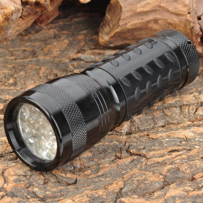 380~400nm 14-LED Ultraviolet Light UV Flashlight - Black (3*AAA)