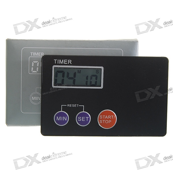 Credit Card Digital LCD Kitchen Buzzer Timer w/ Magnetic Mount - Black