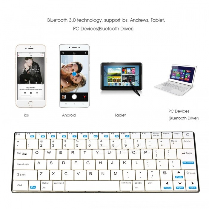 Rii Ultra-thin Wireless Bluetooth v3.0 + HS 84-key Keyboard for Android Cellphones / Tablets