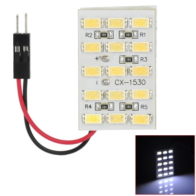 T10 + Festoon 4.8W 390lm 15-SMD 5630 LED White Car Dome Lamp