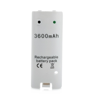 """3600mAh"" Rechargeable Ni-MH Battery w/ USB Cable for Wii U - White"
