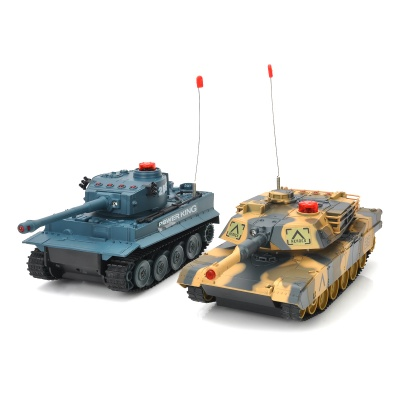 HuanQi 508A 3-Channel IR R/C Remote Battle Tank Model Toy - Camouflage Yellow + Deep Grey (2 PCS)