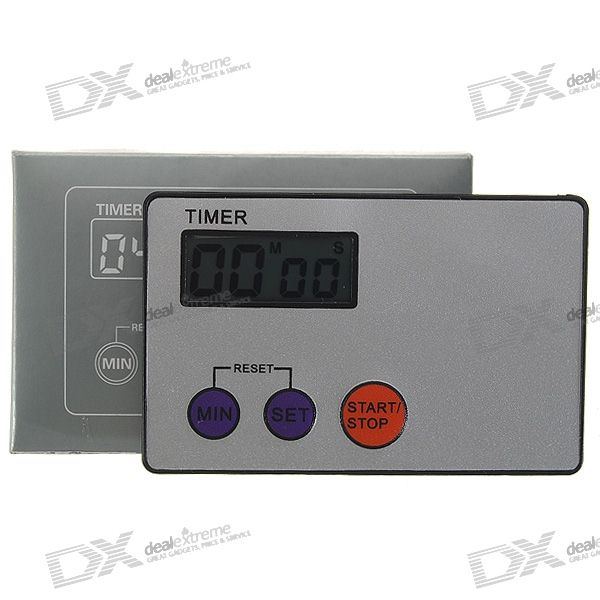 Credit Card Digital LCD Kitchen Buzzer Timer w/ Magnetic Mount - Grey