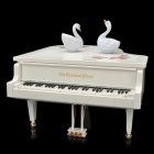 CF-324AL Classical Piano Music Box MP3 Player w/ Dual Swans - White (2 x AA / 2 x Size C)