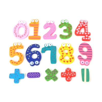 Wooden Numbers and Math Symbols Shaped Fridge Magnet Set