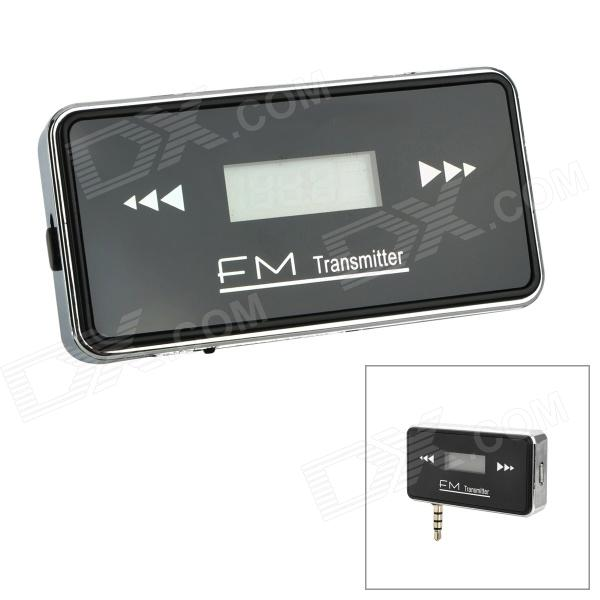 "Rechargeable 0.7"" Car FM Transmitter w/ 3.5mm Plug for IPHONE 5 -Black"