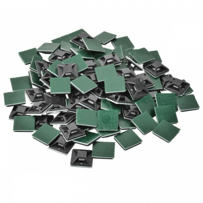 TM-20 Handy PVC Adhesive Cable Management Retaining Fixator - Green + Black (100 PCS)