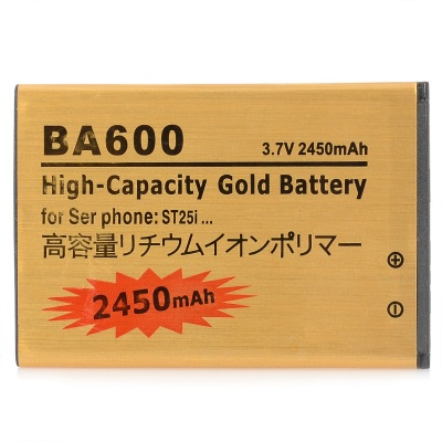 BA600 Replacement 3.7V 2450mAh Li-ion Battery for Sony Xperia U ST25i - Golden