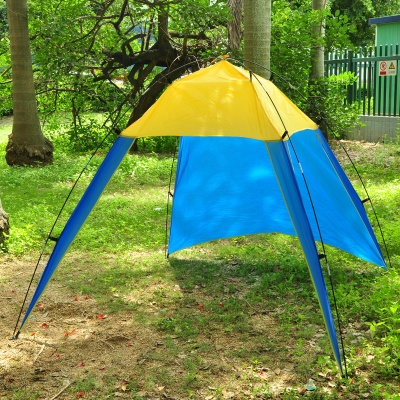 Triangle 3-Door UV Protection Sun-Shading Fishing Polyester Beach Tent - Yellow + Blue