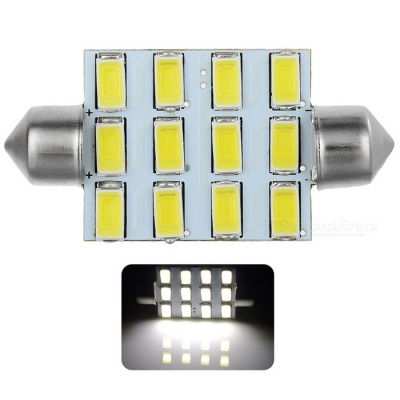 Festoon 42mm 6W 540lm 12-SMD 5630 LED White Light Car Reading Lamp / License Plate Light - (12V)