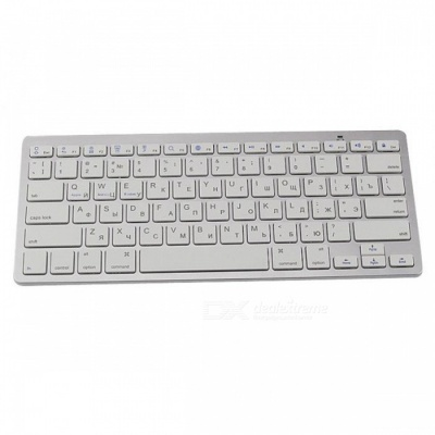 78-Keys Bluetooth 3.0 Wireless Russian Keyboard for Laptop + Tablet PC - White + Silver