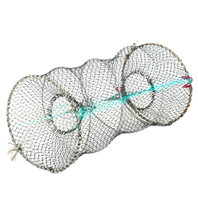 Round Foldable Stainless Steel Wire Nylon Net Fishing Crab Pot Trap - Black