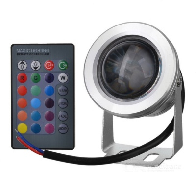 JR-10W-RGB-12V 10W 390lm Waterproof RGB LED Light Underwater Lamp w/ Remote Controller - (12~24V)