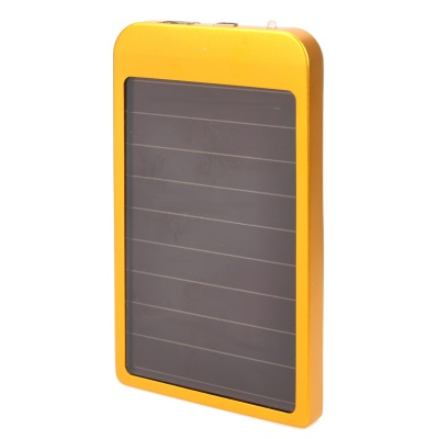 2600mAh Solar Powered Power Bank w/ Charging Adapters - Golden + Black
