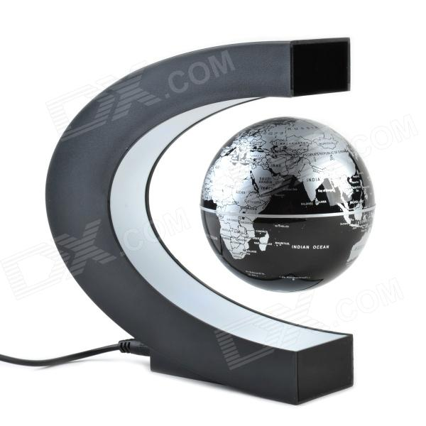 8.5cm Rotation Magnetic Levitation Globe - Black + Silver (EU Plug)