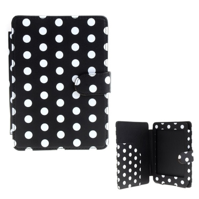 Dot Pattern Protective PU Leather Case Cover for Amazon Kindle Paperwhite -Black + White