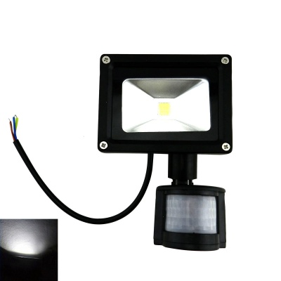 Waterproof PIR Motion Detection Sensor Induction 10W 450lm 6500K LED Flood Light - Black (80~260V)