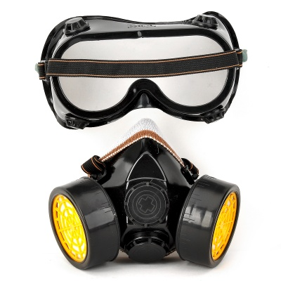 Gas Mask Respirator with Activated Carbon Filter Antigas Anti-dust Mask Goggles Kit - Black + Yellow