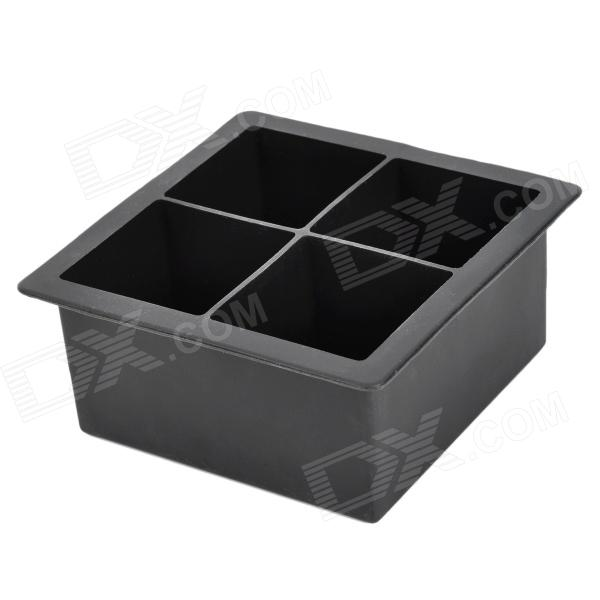 Soft Silicone Square Ice Cube Tray / Jelly / Pudding Mould - Black